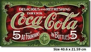 Coca Cola 1900's Classic Tin Sign 1074  Made in USA - Licensed By Coca Cola