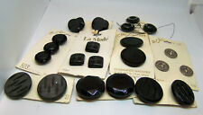 Vintage 1960's Mod Buttons New Old Stock Black Grey & Silver on Original Cards