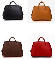 Plain PU Leather Vintage Trolley Holdall Bag Girls Hand Luggage Travel Handbag