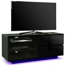 Centurion Supports Gallus Gloss Black 2 Drawer Blackcurrent LED Lights TV Stand