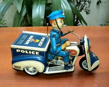 ultra RARE VTG TOY POLICE PATROL TIN MOTORCYCLE  BATT. OP TN Nomura JAPAN 1950s