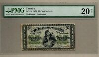 ➡ DC-1a 1870 DOMINION OF CANADA 25 CENT CENTS NOTE SERIES A RARE PMG VF20 VF 20