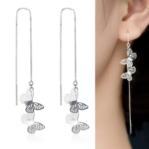 S925 Sterling Silver Butterfly Dangle Drop Pull Through Threader Earrings PE48