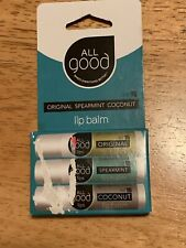 ALL GOOD Lip Balm ORIGINAL Spearmint Coconut, Set of 3, SPF 15, Gluten Free NEW