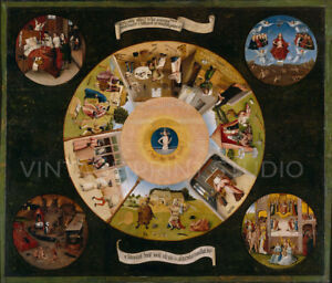 The Seven Deadly Sins 1485 Hieronymous Bosch Giclee Canvas Print 26x22