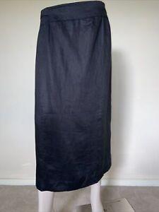 Black Linen Straight Midi Skirt sz 18 XL