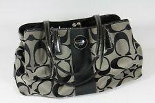 COACH Signature Stripe Carryall Purse Bag Clutch Black Gray Jacquard Handbag