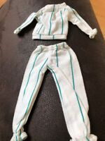 Sindy Doll Clothes Vintage White & Green Jogging Suit.  Trousers And Top