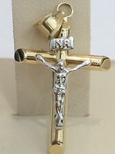 1.25 inch long Religious 14k yellow INRI Gold Jesus Crucifix Cross Pendant