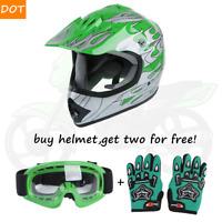 TCMT DOT Youth Green Flame Dirt Bike ATV Motocross Offroad Helmet +Goggles  S-XL