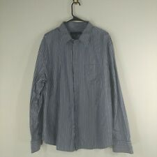 french connection mens button down shirt size xxl blue and white striped