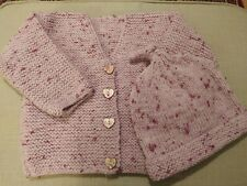 FREE HAT with Hand knitted cardigan 6-12 months