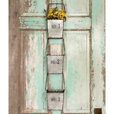 Rustic Galvanized Metal Wall Organizer With Three Hanging Pockets