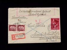 Germany Ostland Durch Dienstpost Registered Hitler Head Franking Stadt Wehlen 4l