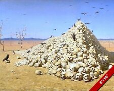APOTHEOSIS OF WAR MOUNTAIN HEAP OF HUMAN SKULLS PAINTING ART REAL CANVAS PRINT