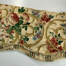 """Waverly 2 Valances Floral Beige Pink Blue Scalloped Layered 73"""" X 16"""""""