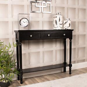 Black Console Dressing Table 3 Drawer Wooden Slim Hallway Shelf Storage Chic