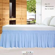 BedSkirts Wrap Around Bed Skirt Three Sided Cover Microfiber Light Blue Solid