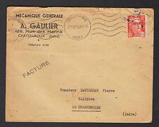 """CHATEAUROUX (36) MECANIQUE GENERALE """"A. GAULIER"""" voyagée en 1953"""