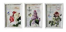 Set 3 quadri stampa fiori shabby chic 34X48 l'uno