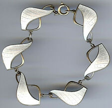 IVAR HOLT VINTAGE NORWAY STERLING SILVER PEARLY WHITE ENAMEL BRACELET*