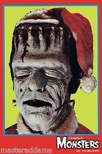 Famous Monsters FRANKENSTEIN MONSTER w SANTA HAT Pin Up PRINT