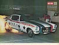 1970 Great Magazine Pic of Bruce Larson's USA-1 Chevy Camaro Funny Car on Fire