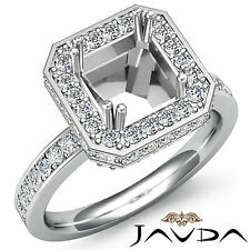 Diamond Engagement Ring Platinum Princess Shape Semi Mount Halo Pre-Set 0.85Ct