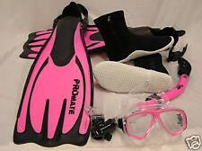 Scuba Diving Snorkeling Mask Dry Snorkel Boots Fins Set
