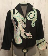 Silk Club Jacket 100% Silk Boxy/Short Style Long Sleeve Lined Open Size PS