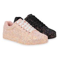 Damen Sneaker Low Glitzer Turnschuhe Schnürer Freizeitschuhe 830792 Schuhe