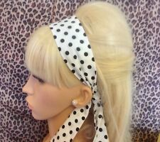 Noir Blanc Polka Dot Spotty coton Head Hair band Self Tie Bow 50 s Rockabilly