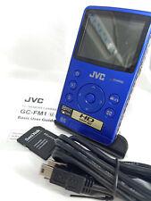 JVC GC-FM1 PICSIO HD Pocket Memory Camera Video Camcorder GC-FM1AE BLUE USB SD