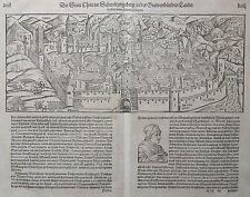 1580 S. MUNSTER - PETRI Original Woodcut antique view CHUR Grisons Switzerland