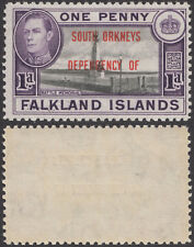 "South Orkneys 1944 KGVI SG C2 Flawed ""FALKLAND"" Error Fine MNHOG SEE DESCR."