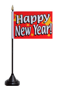 Happy New Year Polyester Table Desk Flag