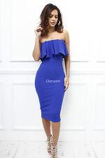 Glamzam Womens Ladies Strapless Boobtube Frill Midi Stretch Bodycon Dress 10 Blue