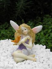 Miniature Figurine FAIRY GARDEN ~ Pink & Purple Fairy Figurine with Bird ~ NEW