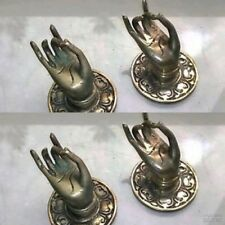 "4 silver used handle hand solid brass door old style knob hook 2.1/4 ""buddha"