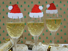 20 Red & White Santa Hat Wine Glass Decoration Christmas Place Cards UK SELLER