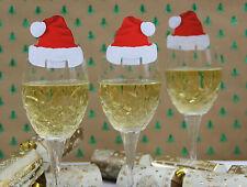20 Rojo Y Blanco Gorro Papa Noel Copa De Vino Decoración Navidad