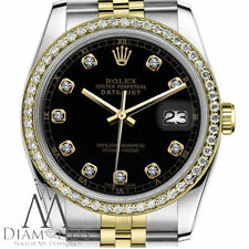 Black Color Rolex 26mm 2 Tone 18K & SS Datejust Diamond Ladies Watch
