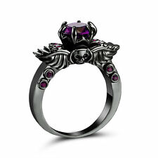 Size 8 Punk Skull Purple Amethyst Wedding Ring 18K Black Gold plated Jewelry
