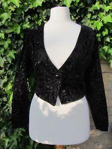 Vintage Etams Ladies Black Velvet feel Sparkly Jacket Size 10