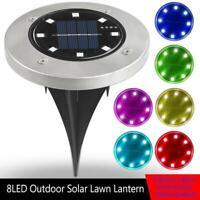 8LED Solar Power Ground Lights Floor Decking Patio Outdoor Garden Lawn Path Lamp