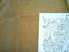 "Tri Chem Early American Tapestry Tan Velvet Wall Hanging u Paint 33X42"" Artex"