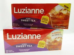 Luzianne Tea ~ Iced Sweet Tea ~ 22 Family Size Bags ~ Lot of 2