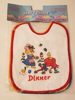 VTG Bibs Baby Toddler Feeding Drool 3 Pack Retro NOS primary colors animals meal