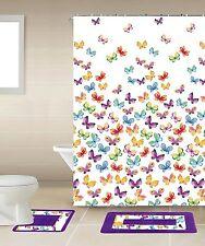 Designer 18-Piece Bathroom Accessory Set 2 Bath Mats Shower Curtain Rings Towels