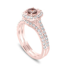 Pink Morganite Halo Engagement Ring Set,With Diamonds Bridal Ring 14K Rose Gold